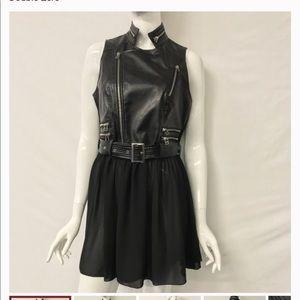 🔥Host Pick🔥Moto Vest w/Sheer Chiffon Panel dress